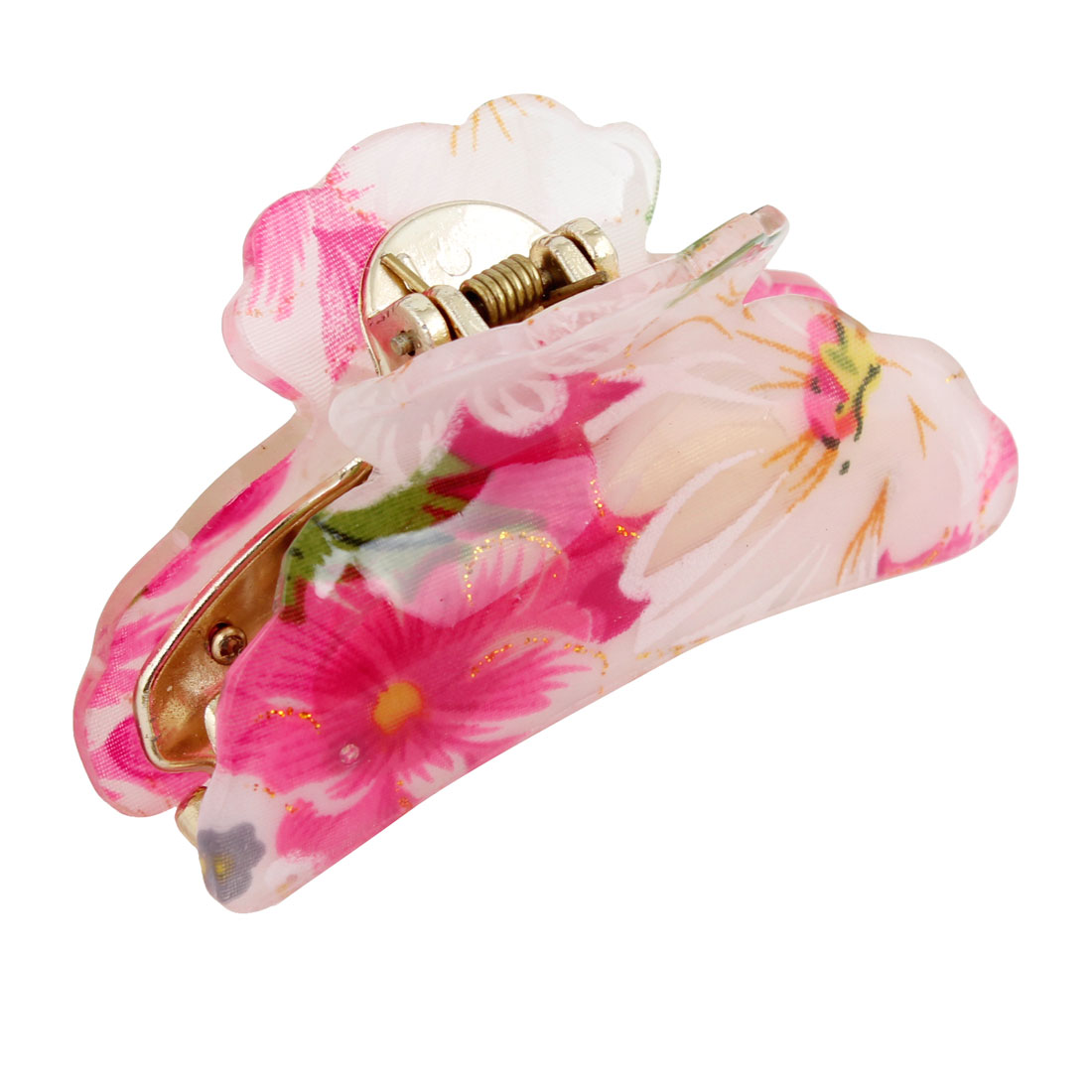 Lady Girls Red White Floral Plastic Gold Tone Hair Claw Clamp Clip