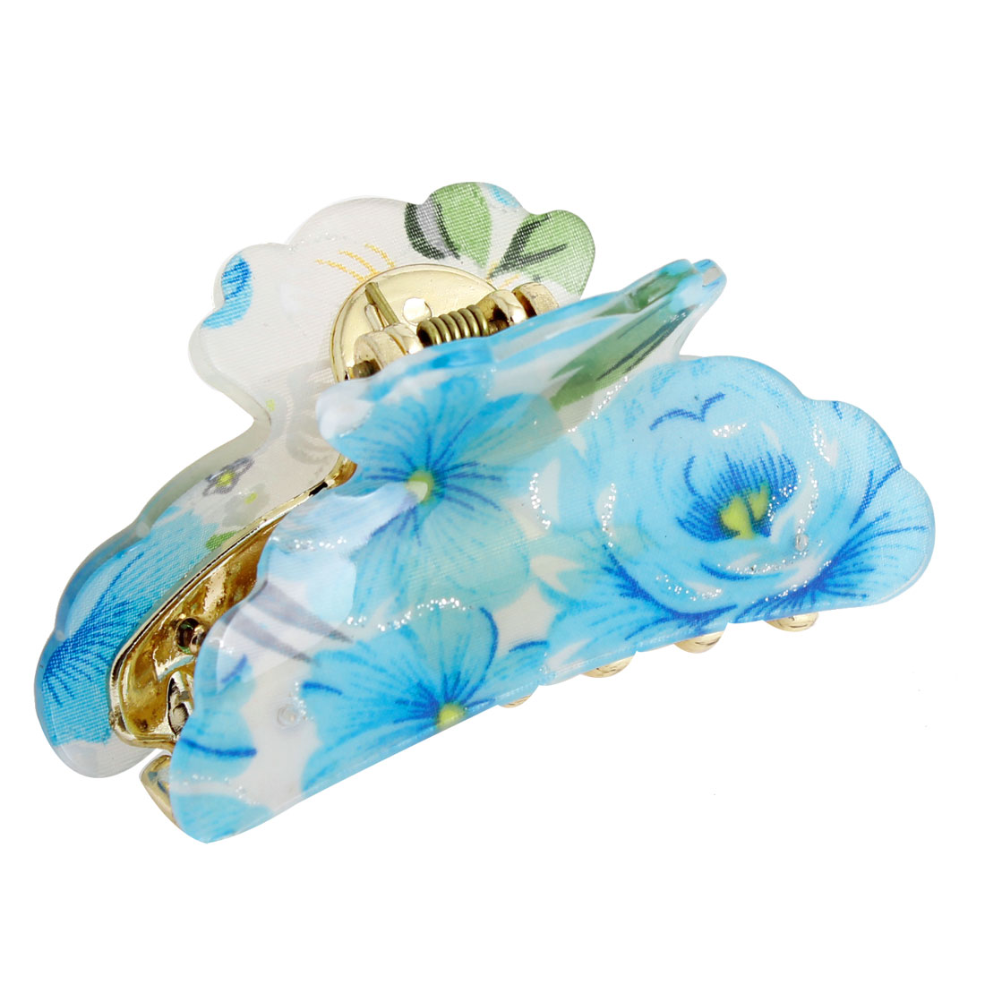 Blue White Floral Print Flower Hair Clip Claws for Women