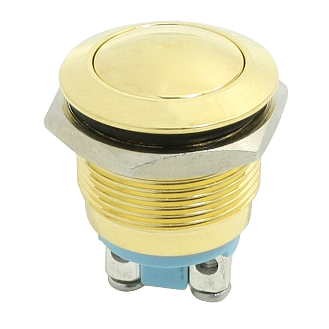 19mm 3A AC 250V Momentary Metal Power Push Button Switch 1NO Gold Tone