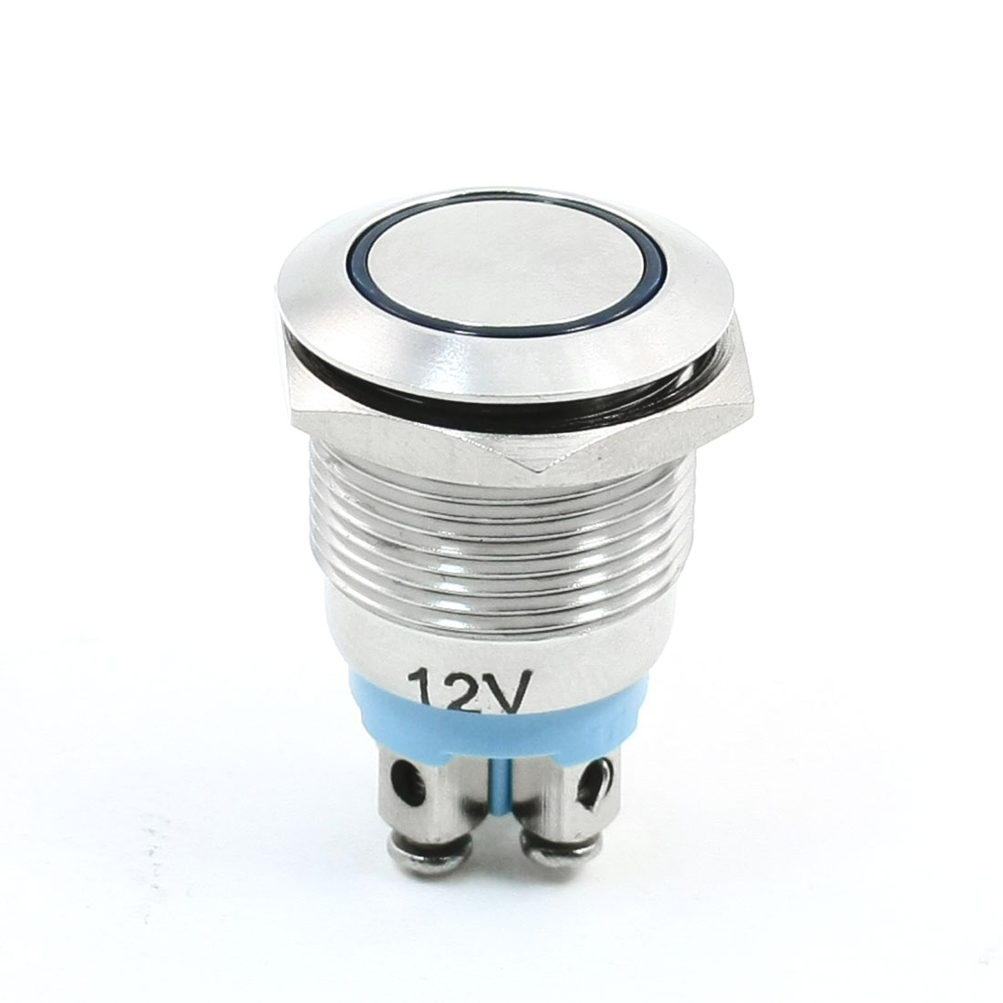 19mm 12VDC Blue Ring LED Lamp Momentary Stainless Steel Push Button Switch 1NO