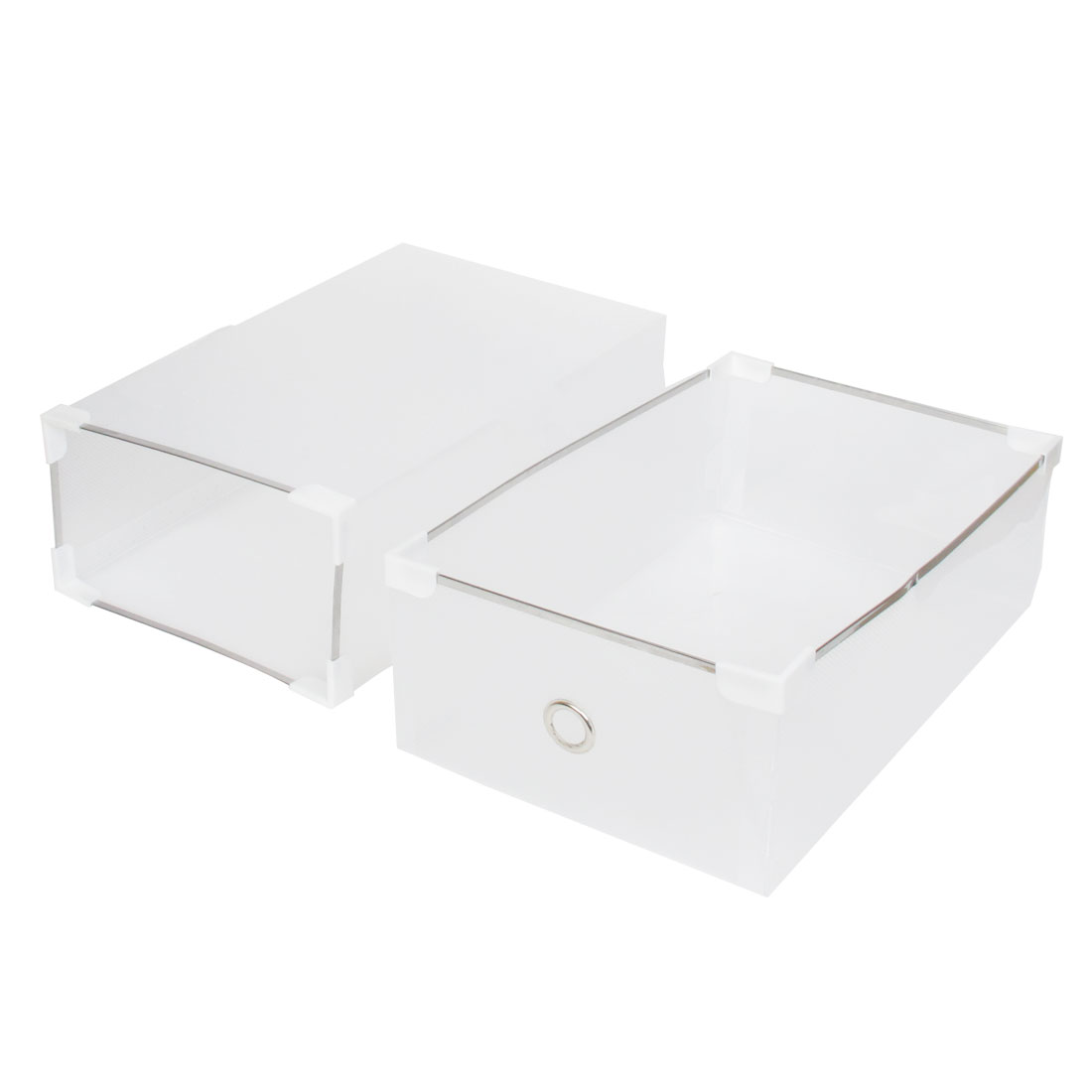 Ladies Clear Drawer Design Foldable Shoes Storage Boxes Case