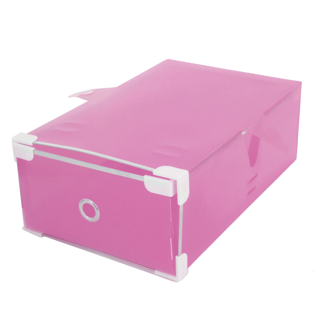 Ladies Pink Drawer Design Foldable Shoes Storage Boxes Case