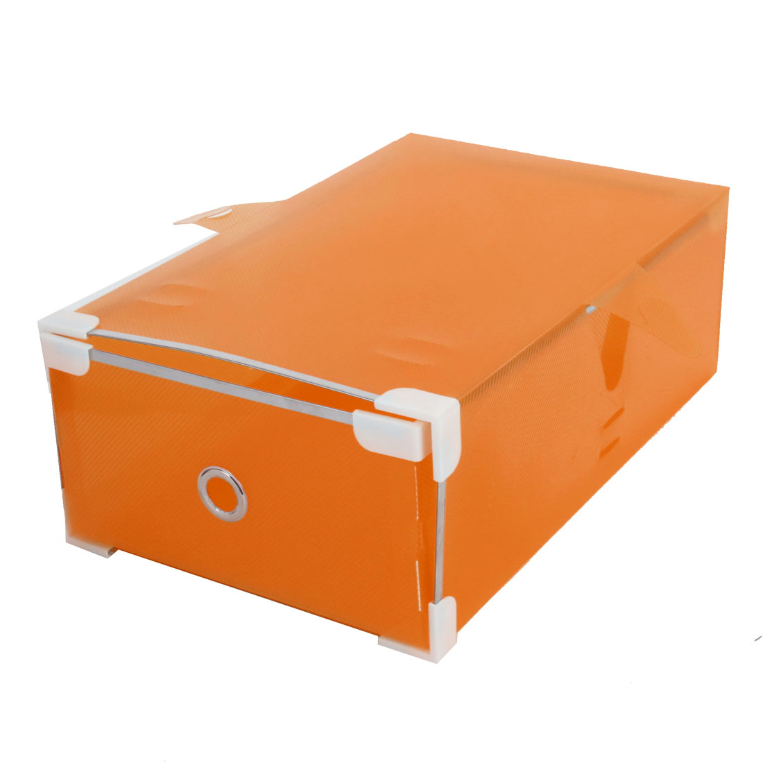 Ladies Orange Drawer Design Foldable Shoes Storage Boxes Case