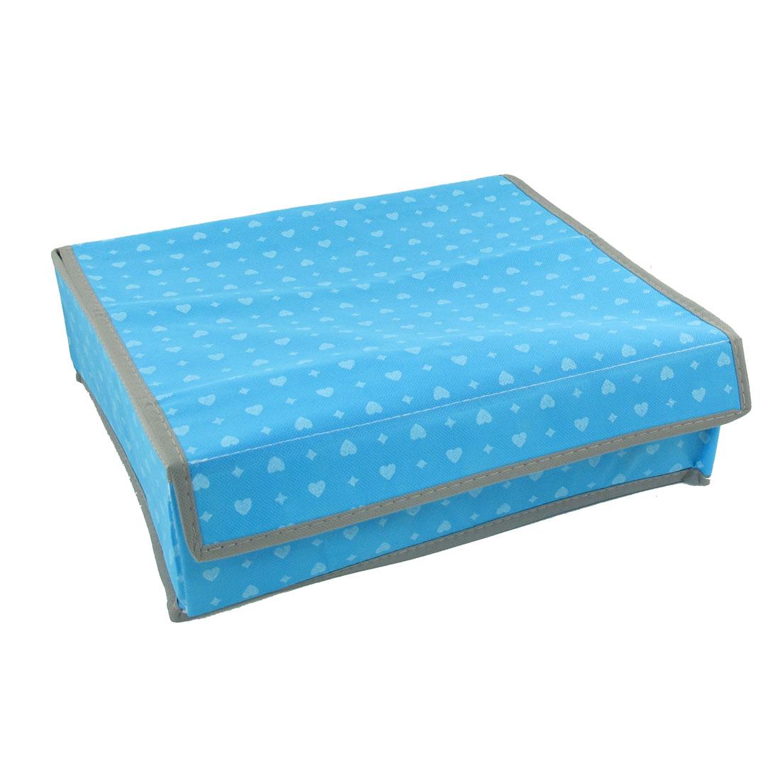 Heart Pattern 16 Compartments Folded Bra Underwear Socks Storage Box Case Blue
