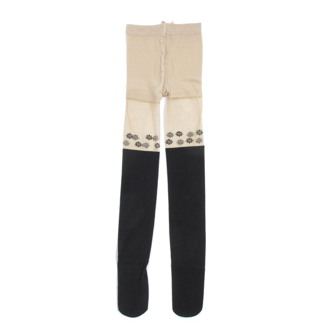 Ladies Beige Black Split Joint Flower Pattern Footed Leggings Pantyhose XS