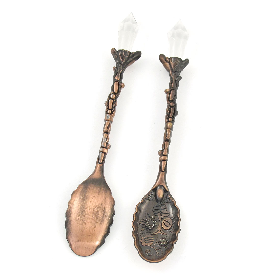 2 Pcs Bronze Tone Carved Flower Detail Small Coffee Spoon