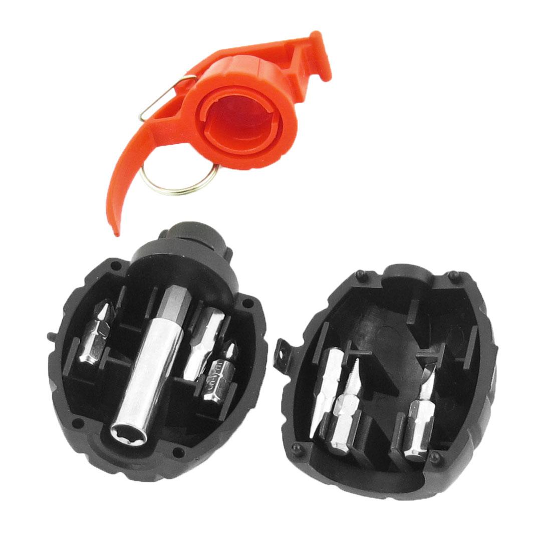 Black Red Grenades Shape Case Phillips Slotted Bit Screwdriver 7in 1