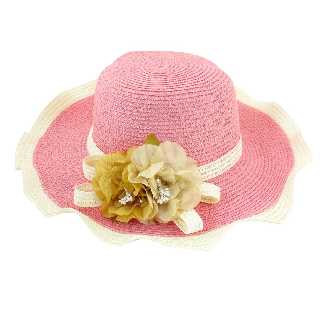 Ladies Braided Strap Decoration Straw Beach Sun Cap Hat Pink