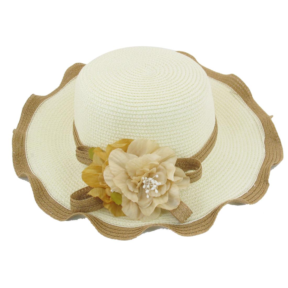 Ladies Braided Strap Accent Beige Fold Straw Beach Sun Cap Hat White