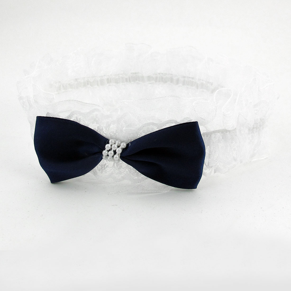 Infant Baby Girl Navy Blue Bowknot Accent White Elastic Headband Hair Head Band