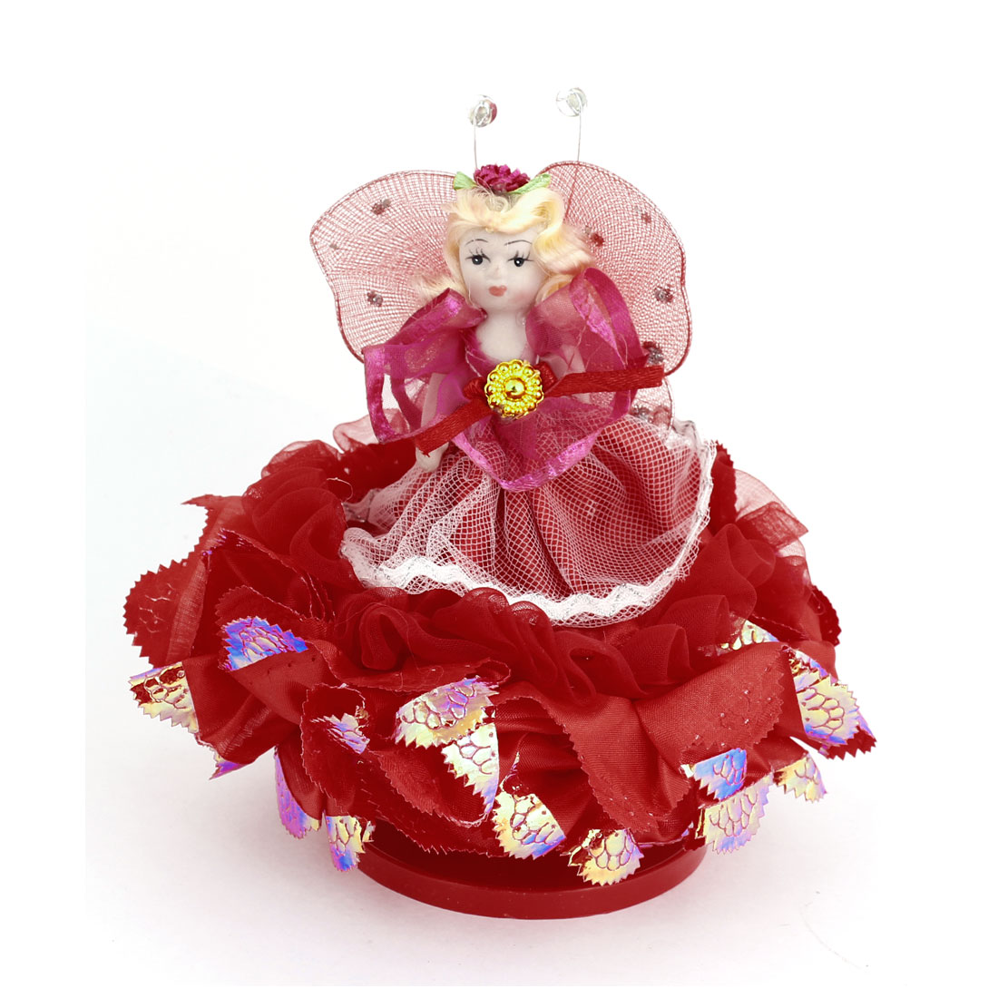 Children Birthday Gift Red Dress Decor Girl Design Doll Music Box