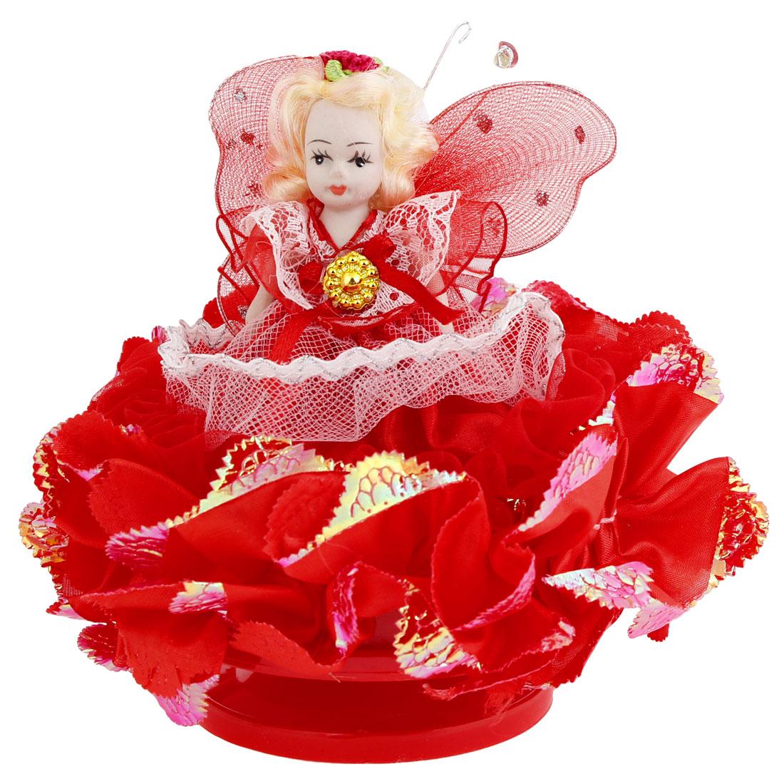 Kid Birthday Gift Red Dress Decor Girl Design Doll Clockwork Music Box