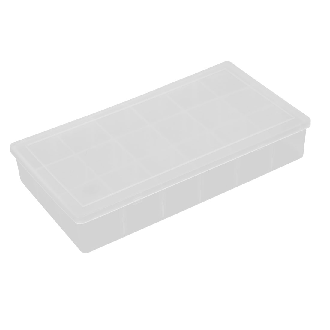 Clear White 18 Square Shape Compartments Pills Storage Box