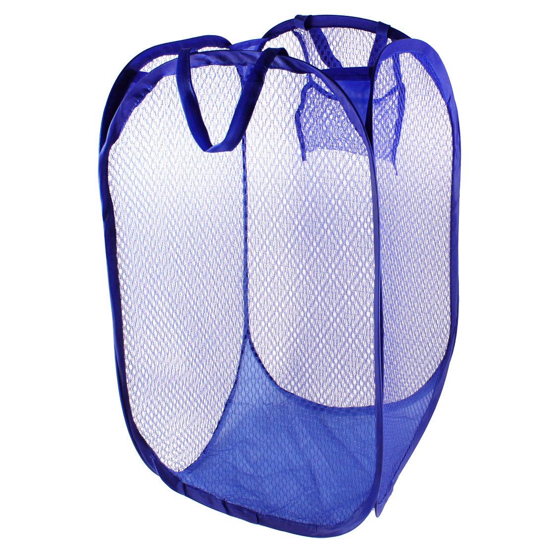 Laundry Dark Blue Nylon Mesh Metal Frame Foldable Washing Bag