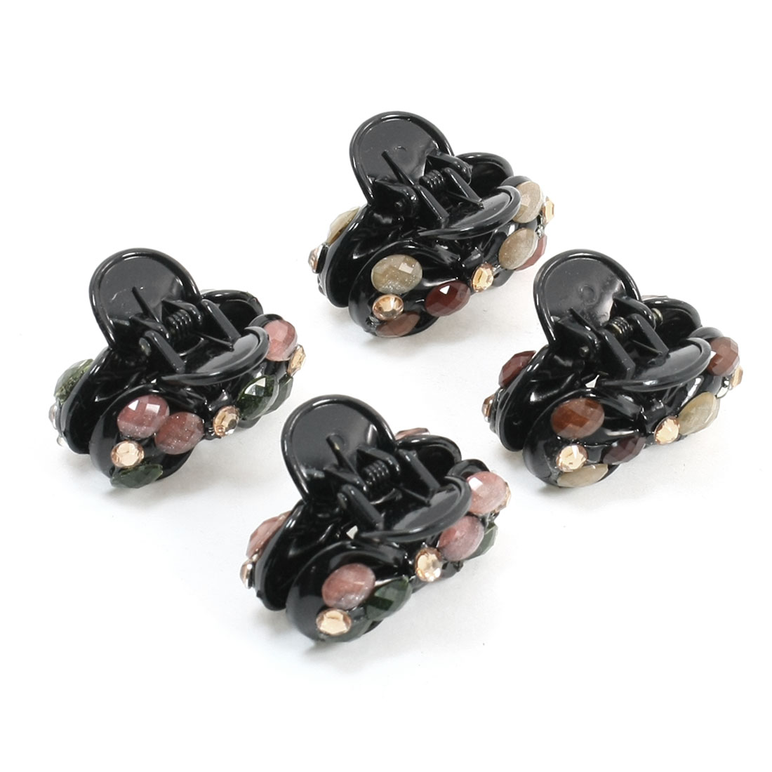 4 Pieces Colorful Plastic Faceted Beads Hair Claw Clip Clamp for Girl
