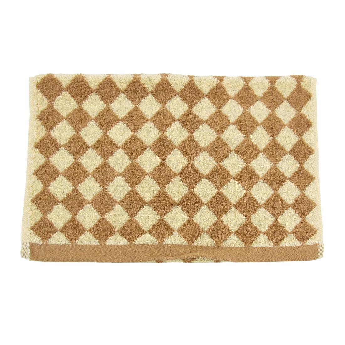 Yellow Brown Rhombic Check Pattern Rectangular Soft Towel Washcloth