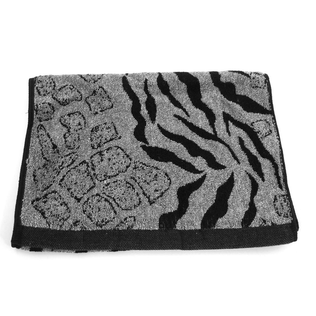 Blcak Light Gray Zebra Pattern Rectangle Shaped Washing Terry Towel