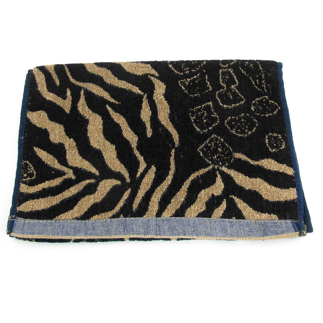 Black Light Brown Zebra Pattern Rectangular Shape Face Washing Towel