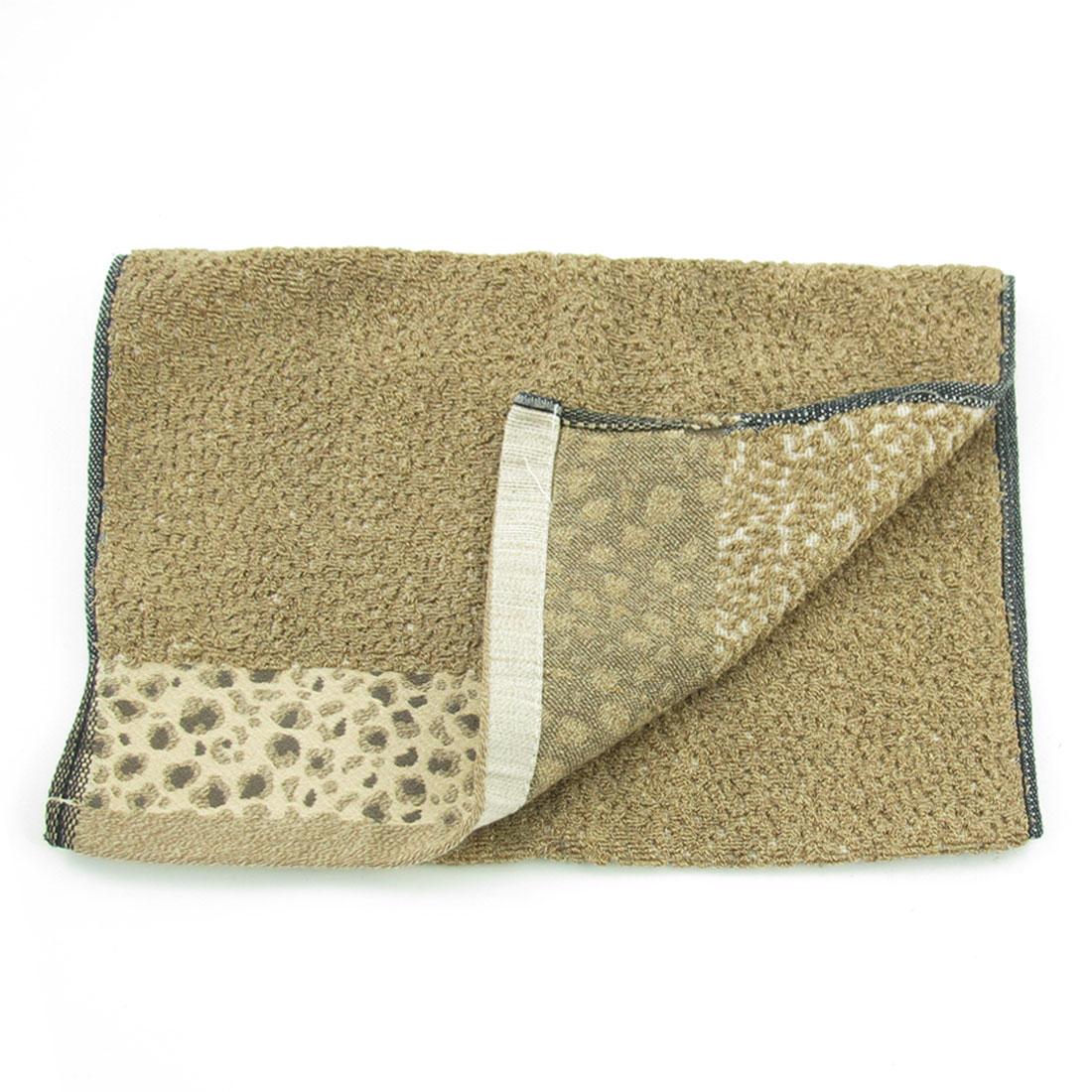 Home Leopard Pattern Black Khaki Rectangle Facecloth Washcloth Towel