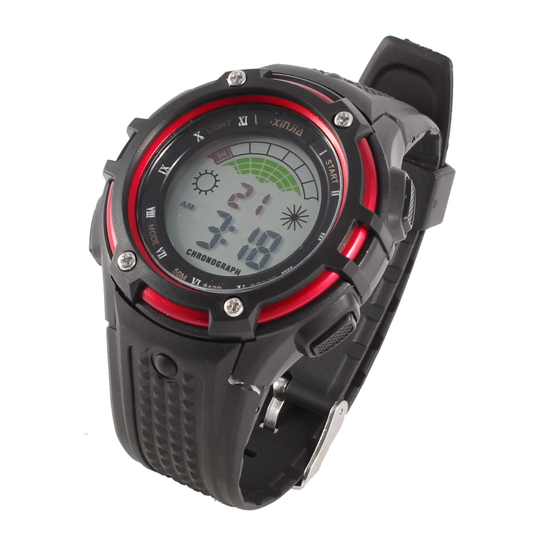 Man Black Plastic Watchband Red Round Dial Alarm Digital Sports Watch