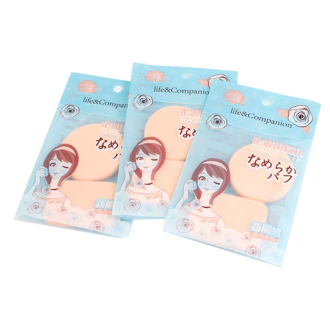 Lady Rectangular Round Designed Pat Cosmetic Powder Puff Pad Beige 6 Pcs