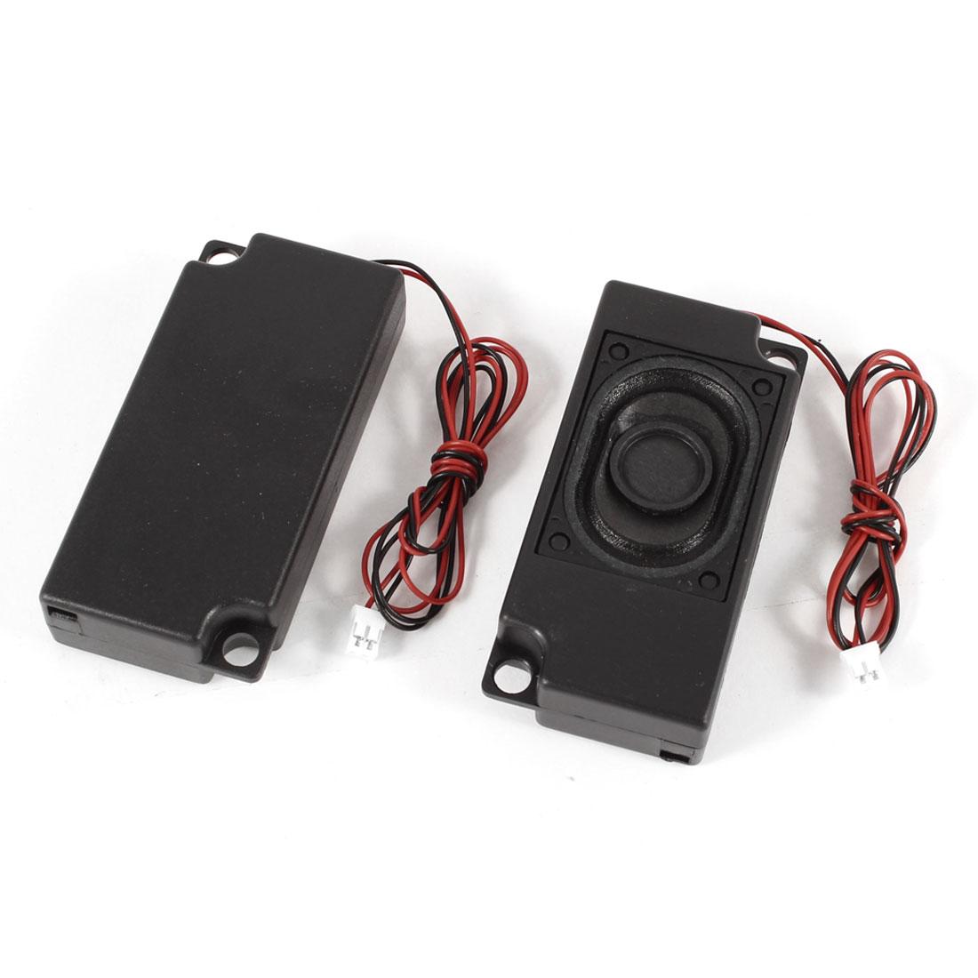 2pcs 60mm x 33mm Plastic Shell 2-Leads Audio Speaker Black 8 Ohm 2W