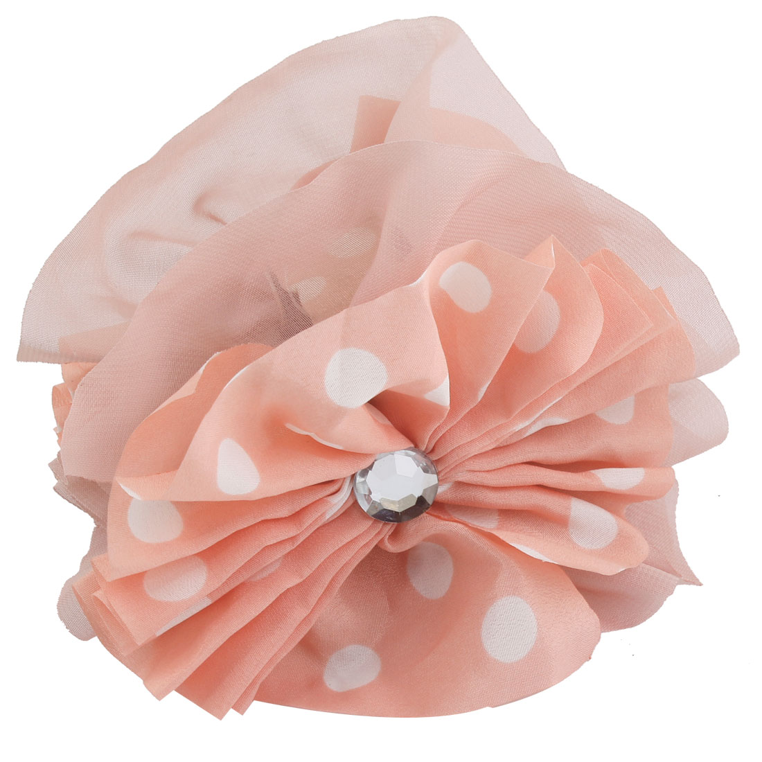 Pink Chiffon Flower Shape Dot Pattern Hair Claw Clip Clamp for Ladies