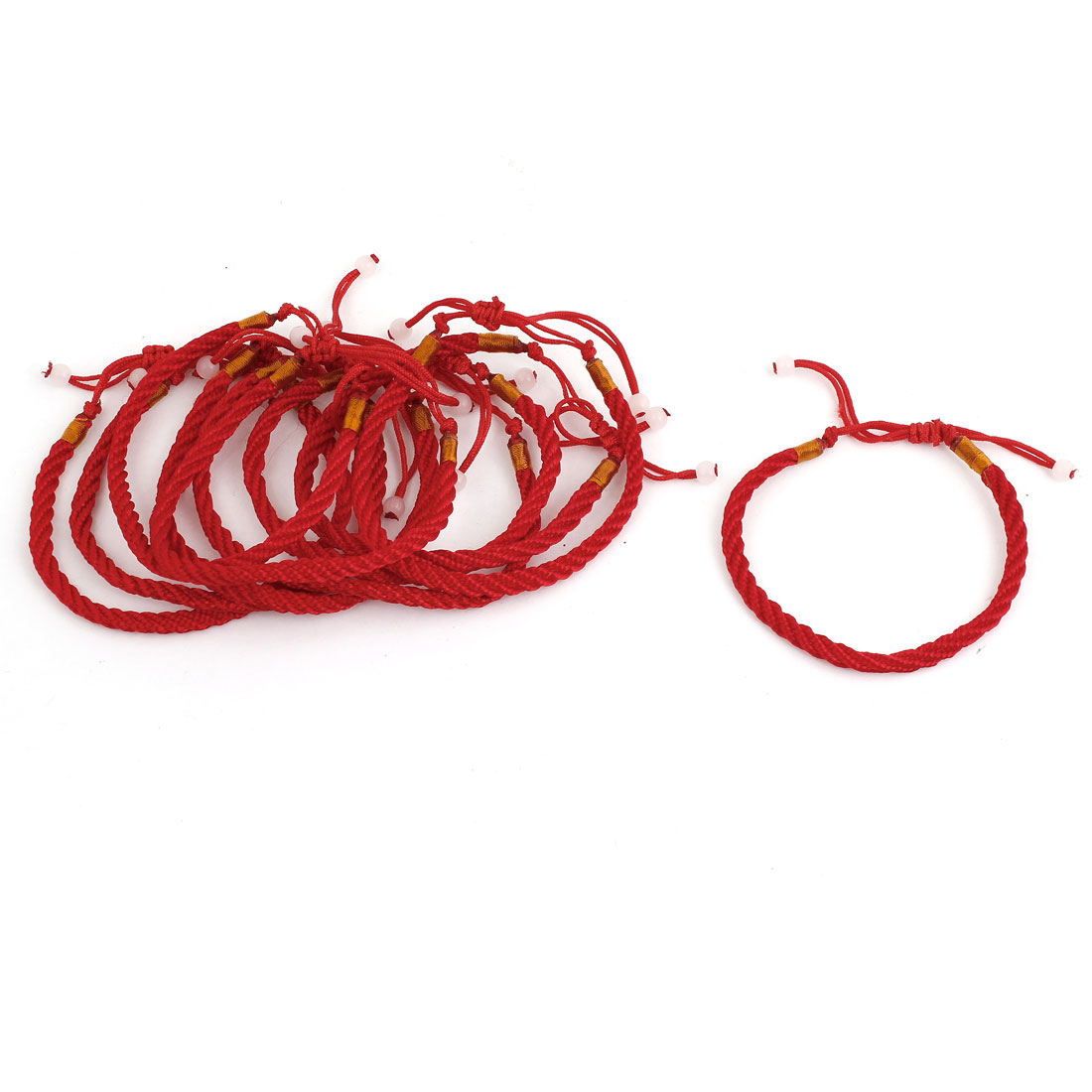White Beads Decor Red Nylon Rope Button Knot Closure Bracelets 10 Pcs