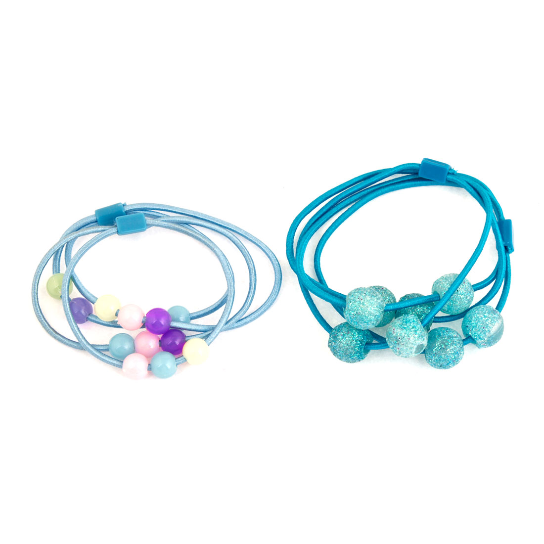 2 Pairs Beads Accent Cyan Blue Stretchy Hair Tie Ponytail Holder for Child