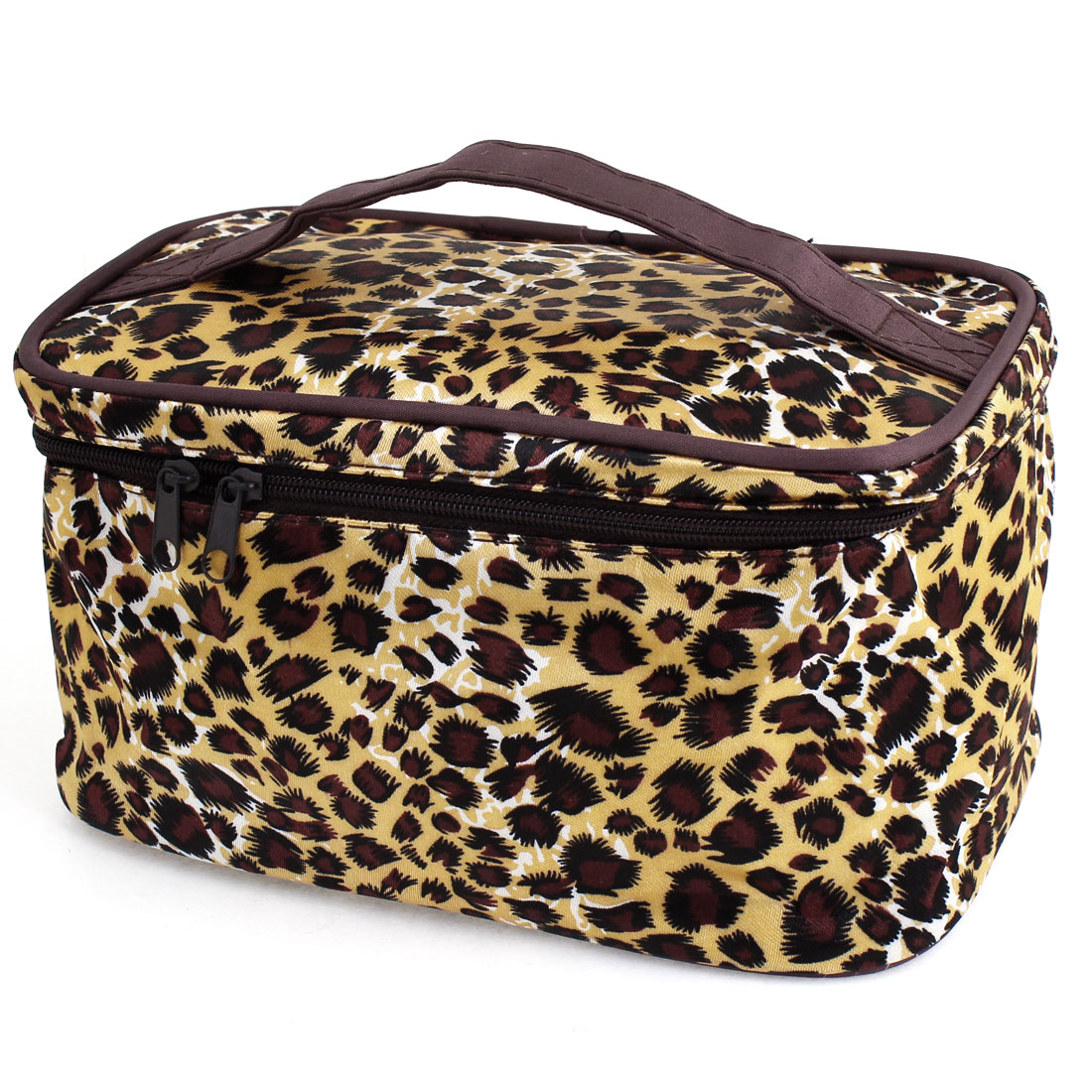 Brown Beige Leopard Printed Cosmetic Bag Make Up Pouch Case for Women