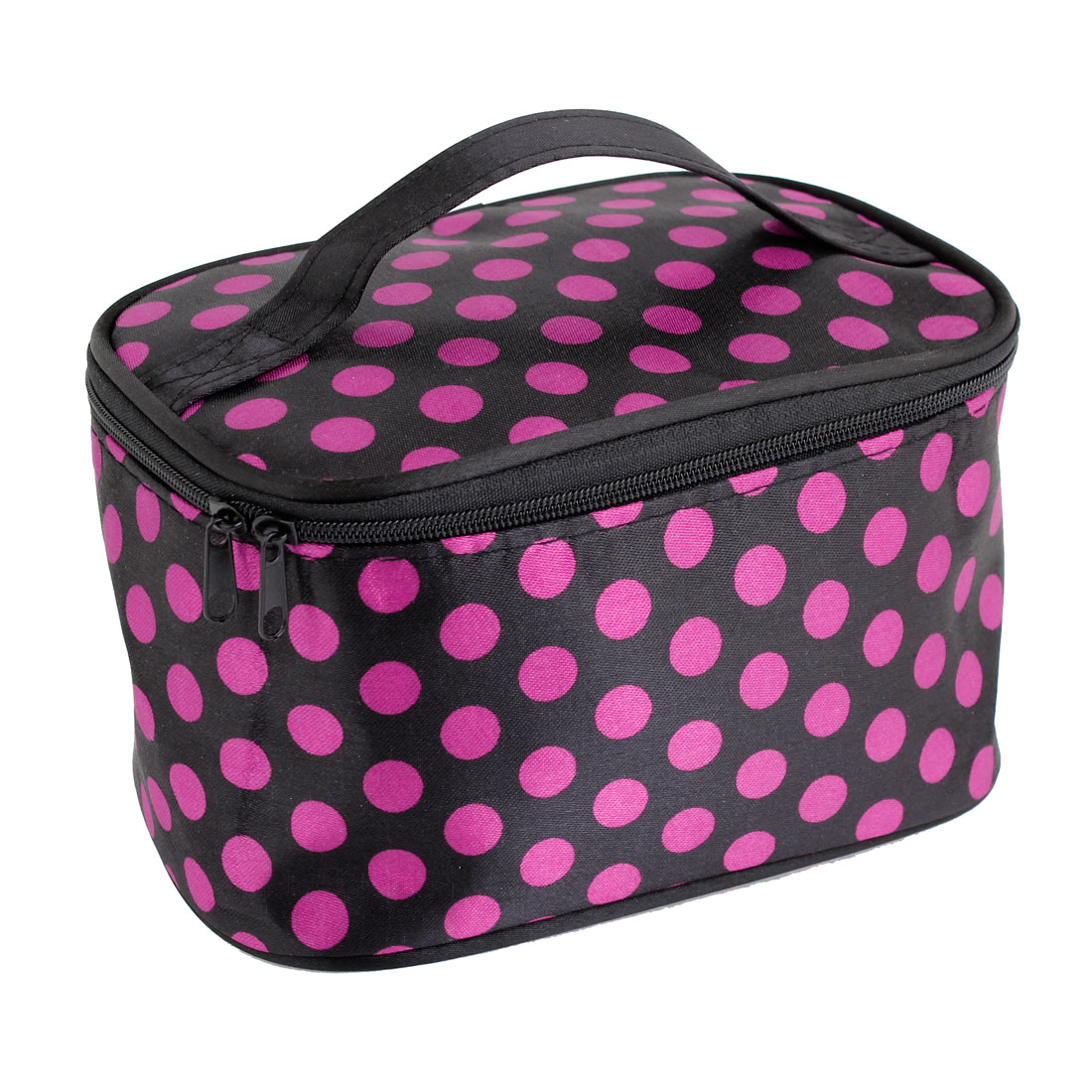 Fuchsia Dots Pattern Black Cosmetic Bag Make Up Pouch Bag Case for Women