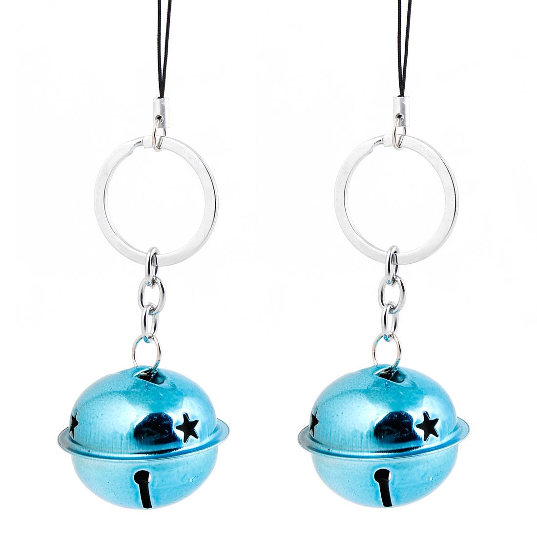 Metal Blue Small Bell Dangling Pendant Key Ring Hanging Ornament Pair