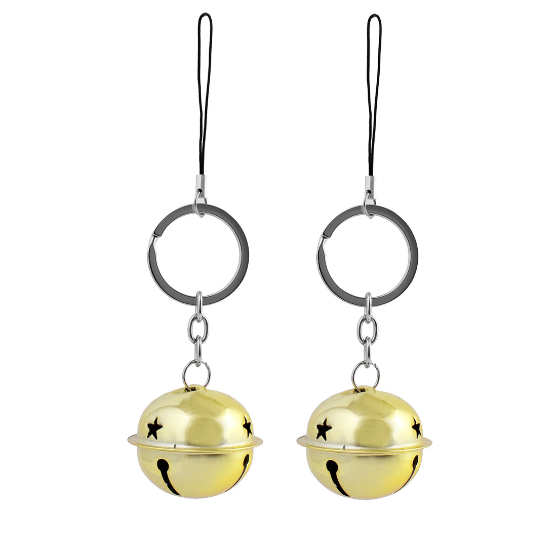 Metal Gold Tone Small Bell Dangling Pendant Key Ring Hanging Decoration Pair