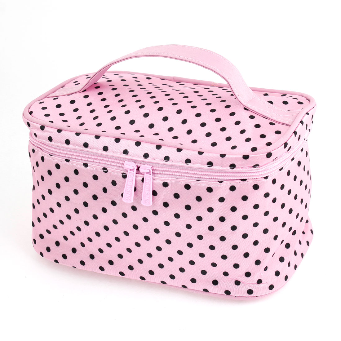Black Dot Pattern Cosmetic Bag Make Up Pouch Case Pink for Women