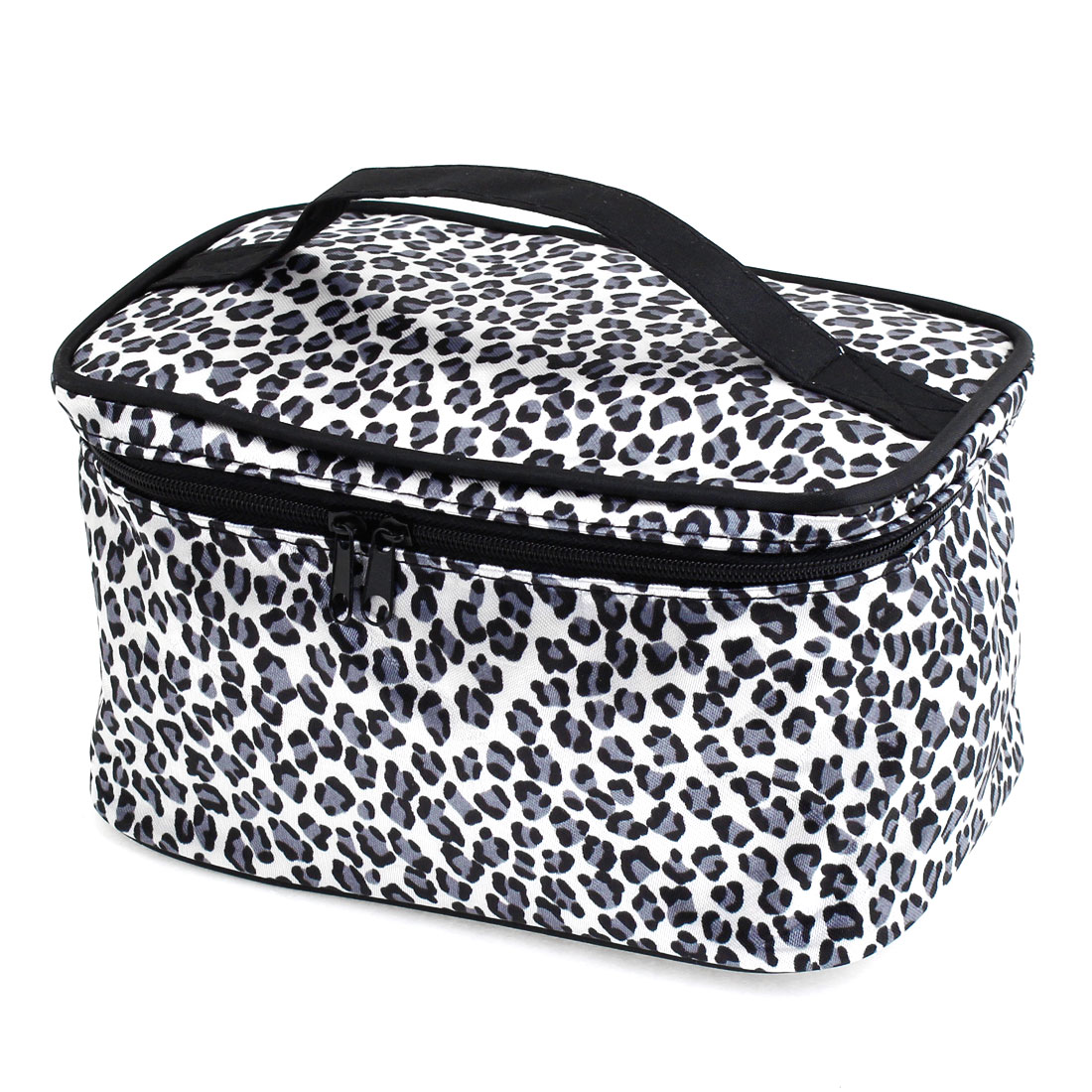 Gray Black Leopard Pattern Cosmetic Bag Make Up Pouch Case for Women