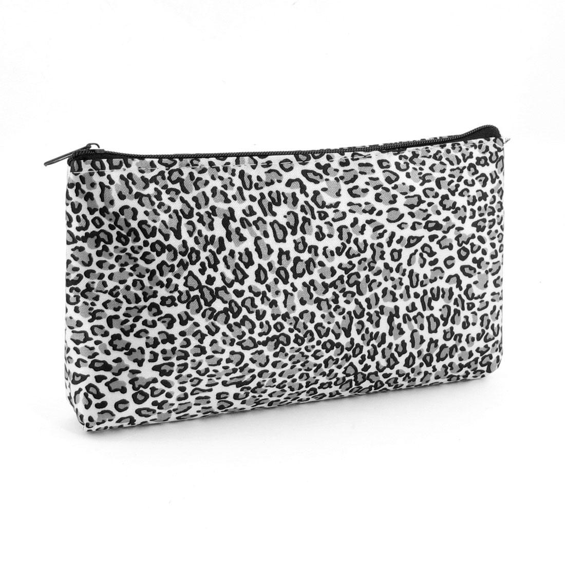 Ladies White Gray Black Leopard Pattern Zip Up Cosmetic Handbag Bag w Mirror