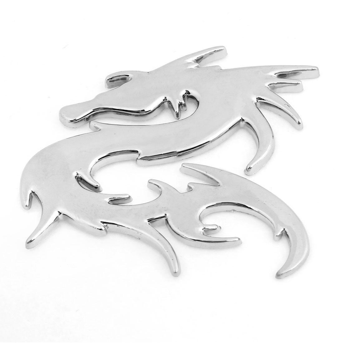 Dragon Design Decoration Car Sticker Plastic Silver Tone
