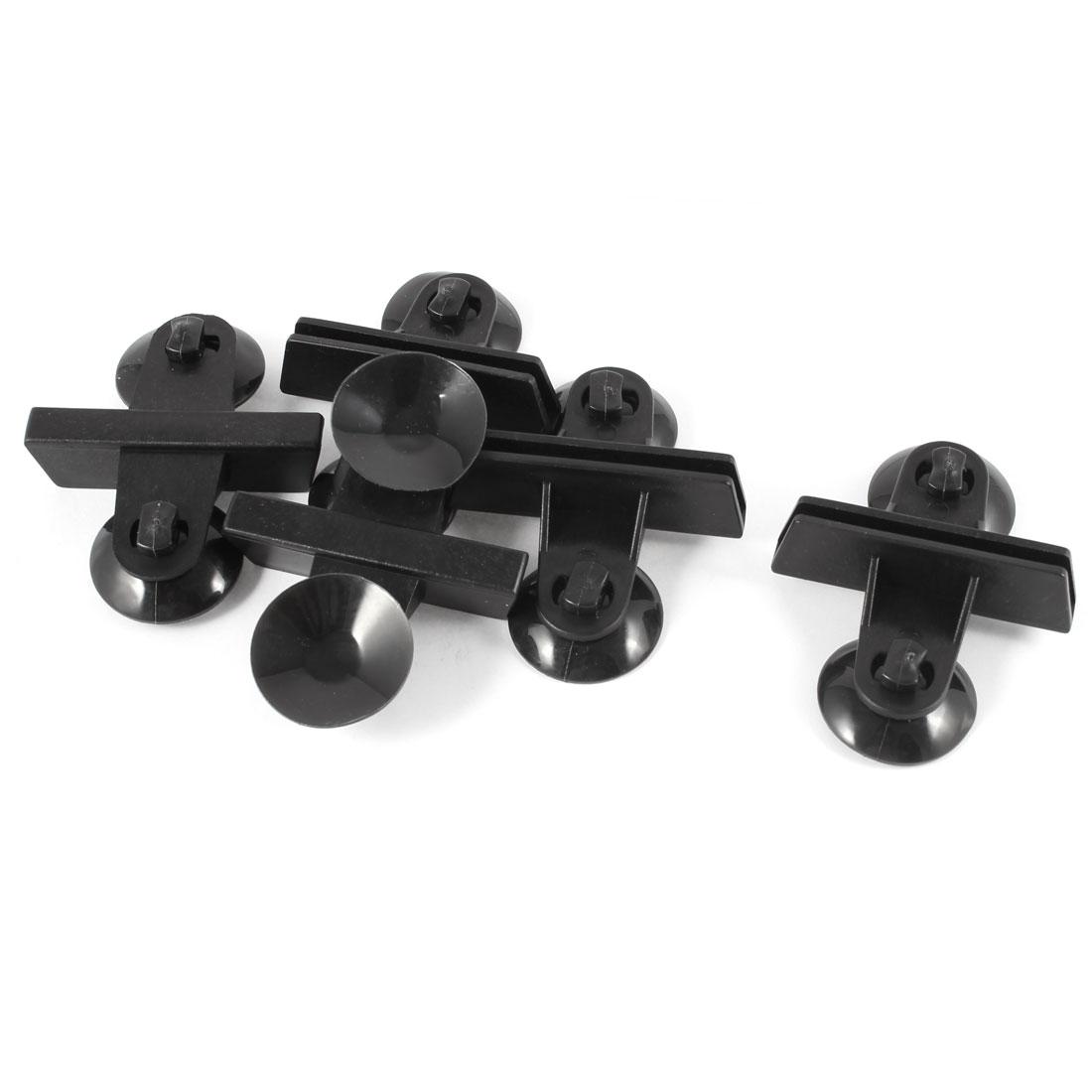 3cm Diameter Base Black Plastic Rubber Glass Moving Suction Cup Plate 5 Pcs