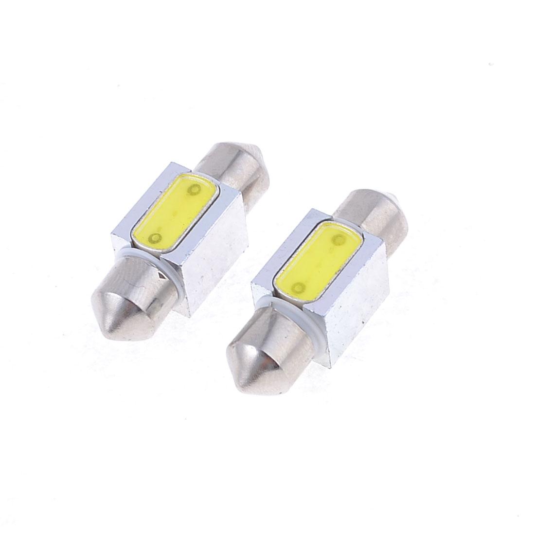 "2pcs White LED 3W 31mm 1.25"" Festoon Dome Light Lamp Bulb DE3175 internal"