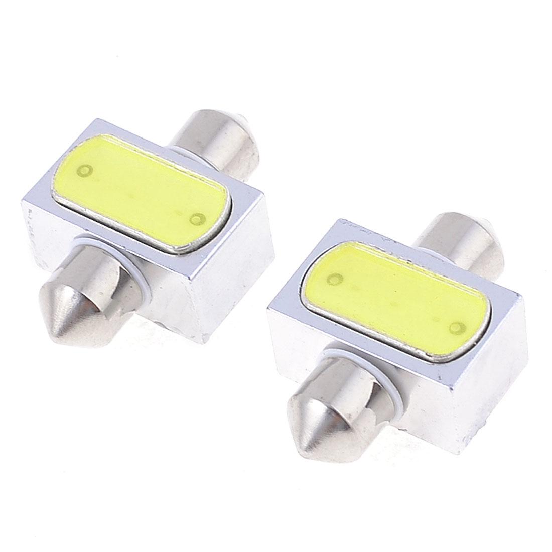 """2 x Car 31mm 1.25"""" White LED Festoon Dome Light Bulb Lamp 3W DC 12V 6430 6428"""