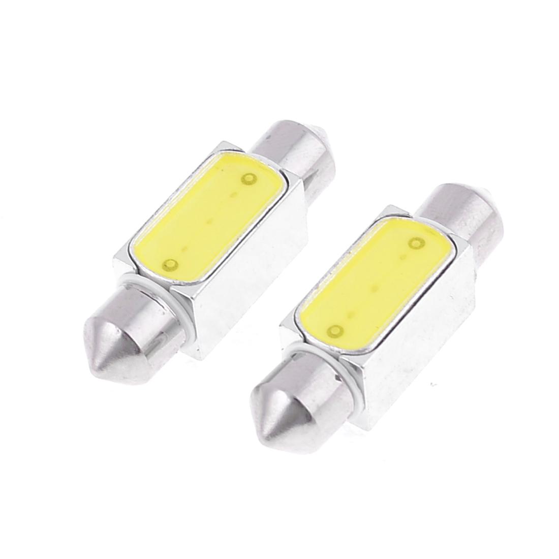 """2 x White LED 3W 36mm 1.5"""" Festoon Dome Light Lamp Bulb DE3021 6461 internal"""