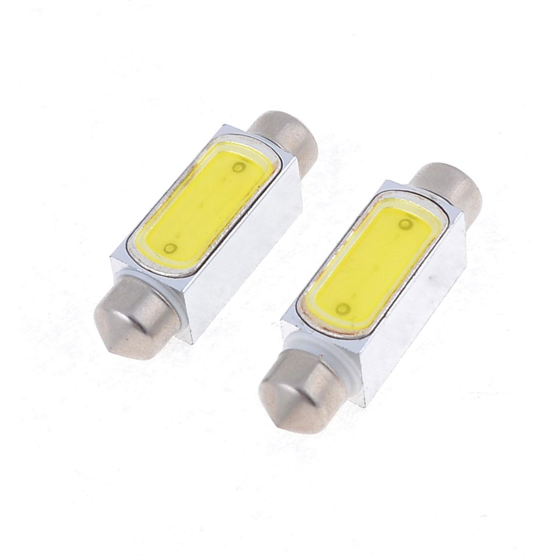 """2 x Car 39mm 1.54"""" White LED Festoon Dome Light Bulb Lamp 3W DC 12V 6411 6413"""