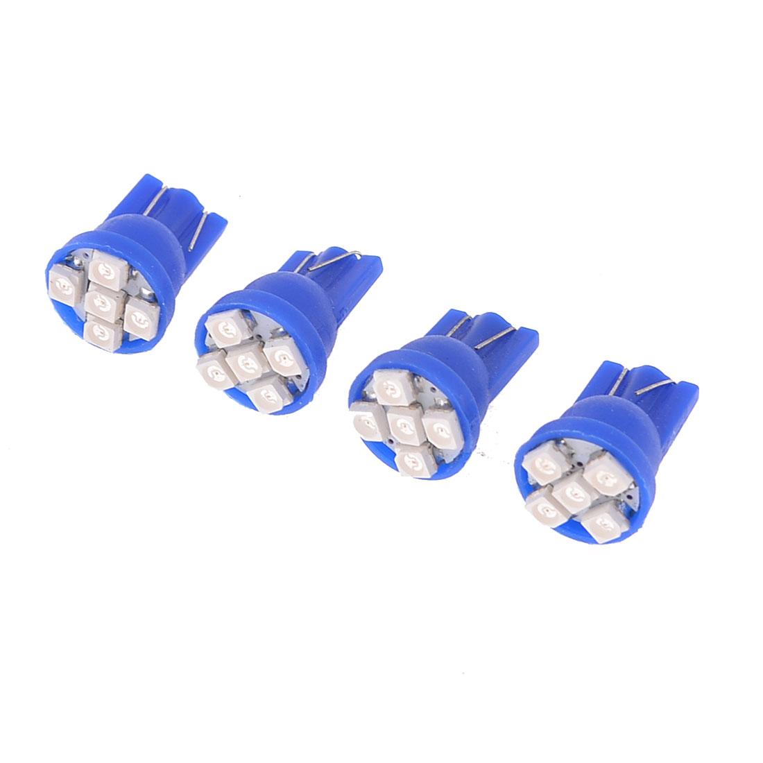 4 x T10 194 152 Wedge Blue 1210 3528 SMD 5-LED Car Dashboard Light Lamp Bulb