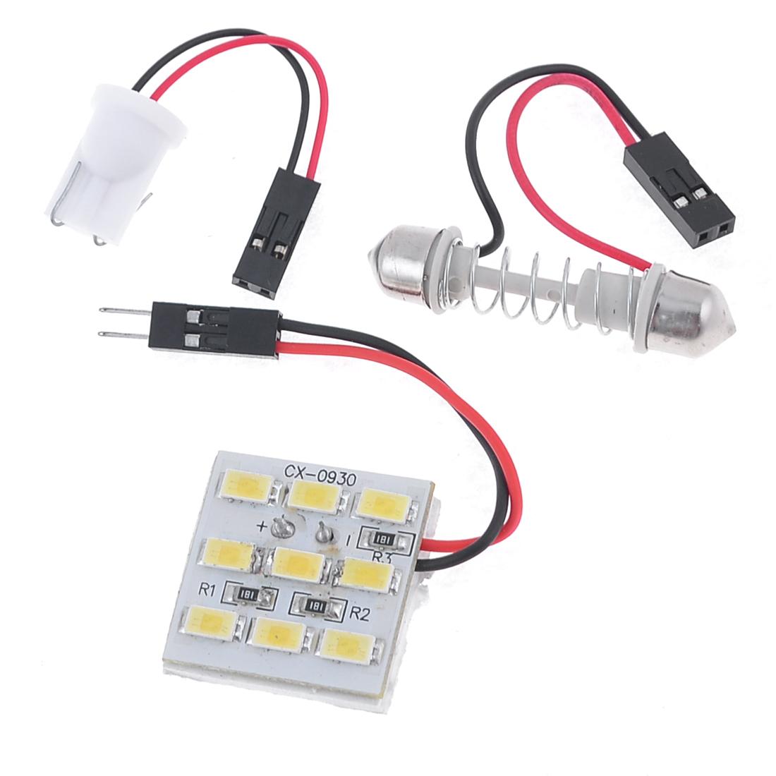 Car Truck White 5630 SMD 9-LED Light Dome Lamp Bulb w T10 Festoon Adapter