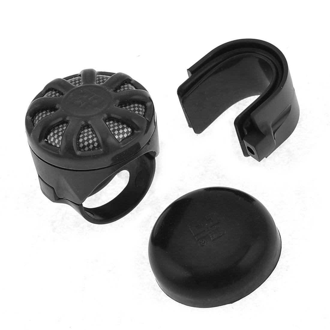 Carbon Fiber Print Car Power Handle Steering Wheel Spinner Knob Black