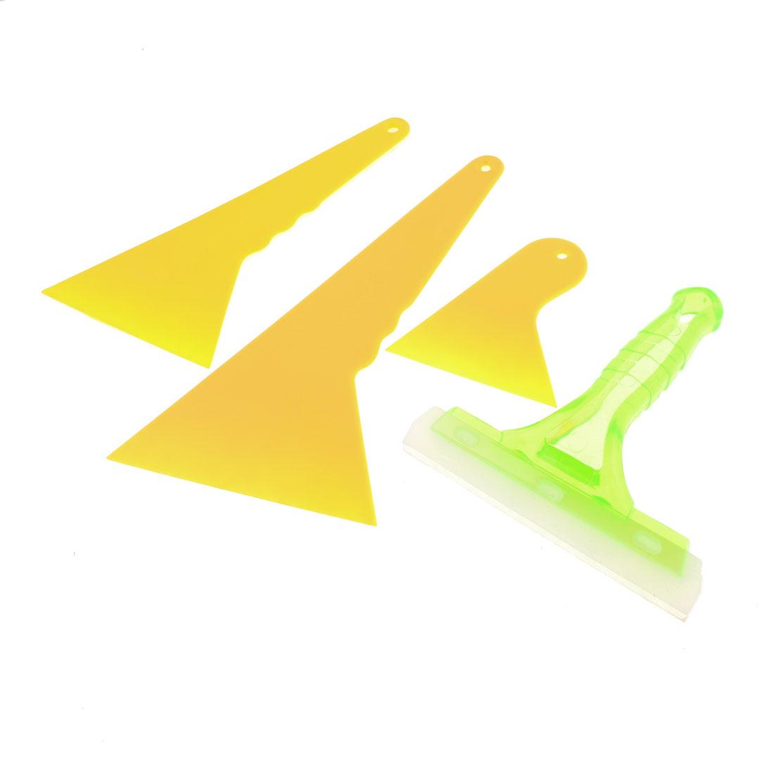 Auto Plastic Window Windshield Tint Film Scraper Cleaning Tool Yellow 4 in 1