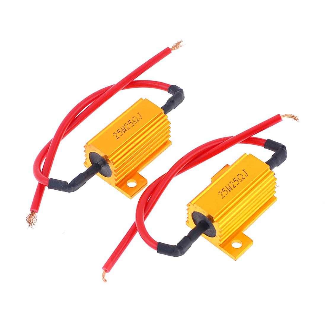 2 x Gold Tone Aluminum Casing Resistors 25W Power 25 Ohm 5% Replacement