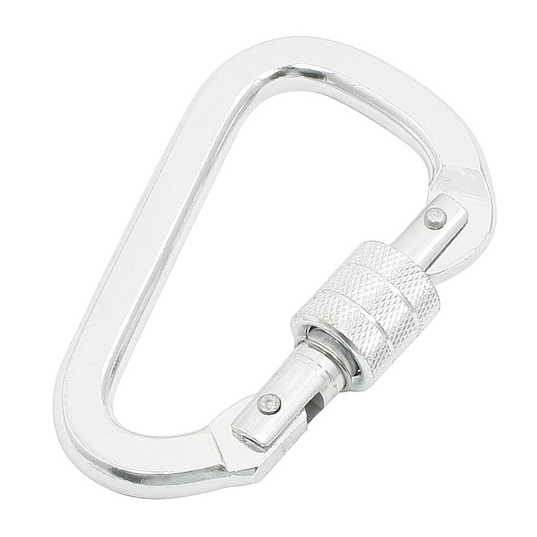 Aluminum Alloy 9.8cm Length Screw Locking Carabiner Silver Tone