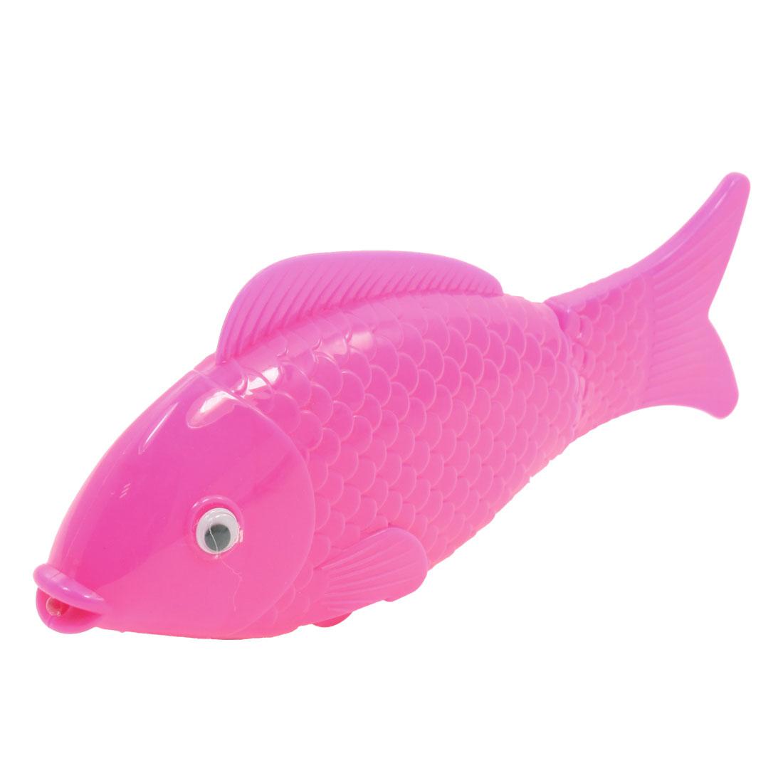 Child Magenta Fishtail Battery Power Plastic Moving Music Fish Toy