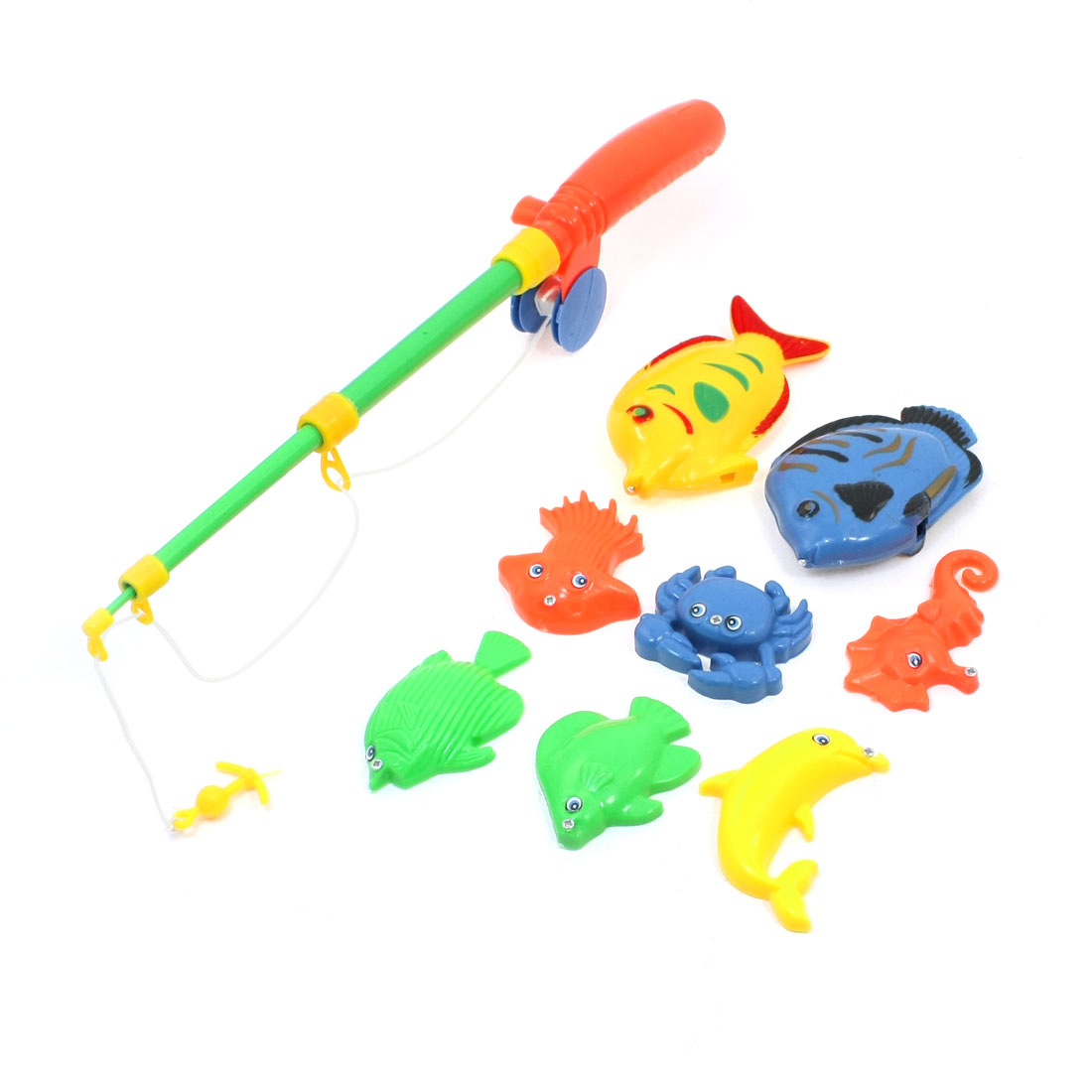 Children Plastic Crab Sea Lion Cuttlefish Magnetic Fishing Rod Toy 9 in 1